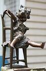 Art Deco Style 12' Statue Sculpture Cat Daughter Art Nouveau Bronze - Signed
