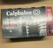 Calphalon 10 Pc Hard Anodized Nonstick Space Saving Cookware New Free Shipping