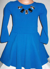 GIRLS CORNFLOWER BLUE NECKLACE TRIM SPECIAL OCCASION SKATER PARTY DRESS age 8-9