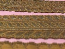 Antique French Victorian Woven Gold Metal Wide Ribbon Trim 1 Piece 125� A 10.5ft