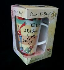 Born to Shop Tall Latte Coffee Mug with Coaster Tis the Season to be Jolly BNIB