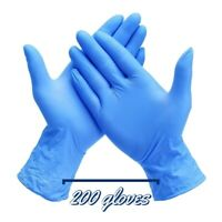 TWO boxes Of Large 100 COUNT BLUE MEDICAL GLOVES NITRILE POWDER & LATEX FREE