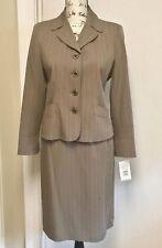 HARVE BENARD Skirt Suit Blazer Jacket Green Pinstripe Lined Work  6P Petite New