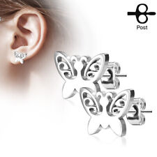 Butterfly 316L Stainless Steel Post Stud Earrings - 20 GA 0.8 mm Silver Tone