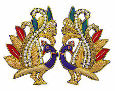 Sewing Accessories Beaded Peacock Appliques Decorative Applique Craft 1 Pair