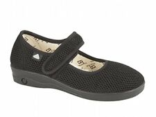 Womens Ladies Extra Wide Eee Fit Washable Velcro Comfort Mary Jane Sandals Black 40 -