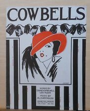 Cow Bells - 1922 sheet music - woman's portrait by Perret on cover