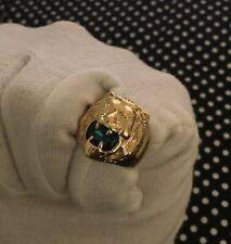 Elvis Presley Gold Lion Head Concert Ring Green Austrian Crystal TCB Open Jaws
