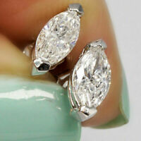 1.50 Ct Marquise Cut Diamond Solitaire Stud Earrings 14k White Gold Finish
