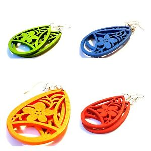 Wooden Flower Earrings. Different Colours Available. Drop Dangle Jewellery Gift