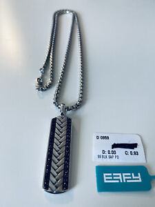 """Effy Mens 22"""" Sterling Silver Chain and Sapphire Pedant"""