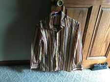 Vintage Retro Striped Long Sleeve Button Down Shirt Funky Groovey Medium Mens