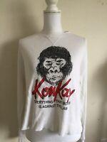 Rare! Brandy Melville White long sleeve Laila Konkay gorilla  thermal top S/M