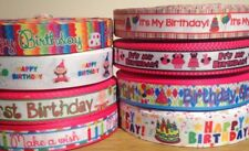 1m Happy Birthday Multi Coloured Grosgrain Ribbon, Cake, Craft Buy 3 get 1 Free!