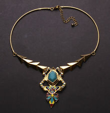 Aztec- Gold Triangle/blue Stone Centre & Colourful Enamel Gold Necklace(Ns29)