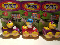 Lot of 3 Vintage PEZ Car Candy Dispensers Purple Dinosaur & Peter the Clown New