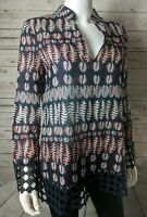 Tory Burch Sz 6 Embroidered Eyelet Hem Tunic Top Leaf Blouse Fall Autumn $295