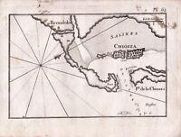 Carte Géographique XVIIIe Venise Brondolo Chioggia Port Chioggia Vénétie 1764