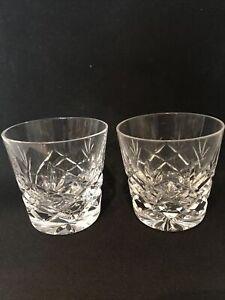 2 VINTAGE LEAD CRYSTAL CUT WHISKY GLASSES / TUMBLERS GOOD QUALITY