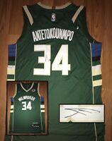 Giannis Antetokounmpo Autograph Bucks Signed Nike NBA Jersey Xl PROOF