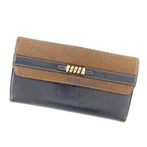 Loewe Wallet Purse Long Wallet Black Brown Woman unisex Authentic Used T5188