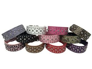"""Dog Puppy Collar - Studded Rivet PU Leather - 2"""" wide - 11 Colors - S M L XL"""