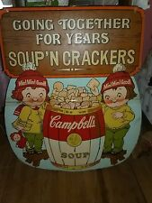 "Campbell's Soup DOUBLESIDED Cardboard 36"" x 30"" Diecut VINTAGE ADVERTISING SIGN"