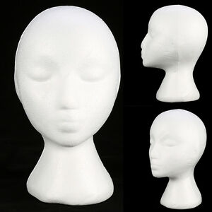 Styrofoam Foam Mannequin Female Head Model Dummy Wig Glasses Display Hat St F3U2