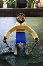 "Vintage Man Skiing Handmade Metal Art Figurine Sculpture 7.5""×7"" Mexico"