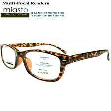 MIASTO MULTI-FOCAL RECTANGLE COMPUTER READER READING GLASSES +1.50 BROWN NO LINE