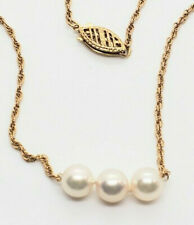 "14k Yellow Gold Add a Pearl 3 - 6.3mm Cultured Pearls 16"" Rope Necklace 3.4 Gram"