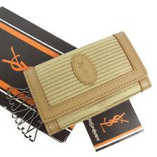 Auth YVES SAINT LAURENT Vintage Logos PVC Leather Key Holder UNUSED F/S 930