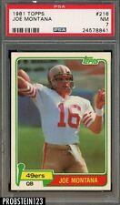 1981 Topps #216 Joe Montana 49ers RC Rookie HOF PSA 7 NM