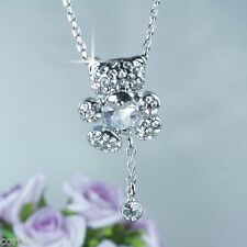 N6 Silver Rhodium Plated Teddy Bear Heart Crystal Pendant Necklace -  Gift boxed