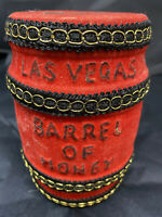 Vintage Barrel Piggy Bank Old Red Las Vegas Coin Bank