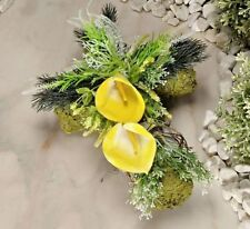 Grableger Callasblüten Grabschmuck Grab Kreuz Callas Moos Friedhof Grabgesteck