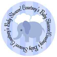 BLUE ELEPHANT BABY SHOWER PARTY PERSONALIZED ROUND STICKERS FAVORS OWLS LABELS