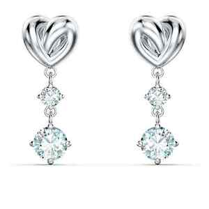 Swarovski Crystal Heart Pierced Earrings, White, Rhodium Plated 5517943
