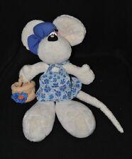 Peluche doudou souris blanc Diddlina DIDDL DEPESCHE  robe bleu panier 33 cm TTBE