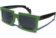 Pixel Sunglasses BLACK and GREEN 8 Bit RETRO Computer Gamer Pixelated Sunnies