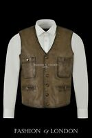 Men's Leather Waistcoat Dirty Brown Nappa Casual Fashion Classic Style Vest 4024