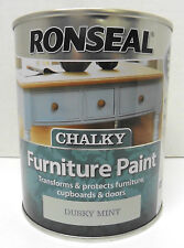 Ronseal Chalky Finish Furniture Paint - 750ml - DUSKY MINT - No Need To Wax