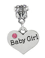 Baby Girl Heart Daughter New Mom Pink Rhinestone Dangle Bead fits Charm Bracelet