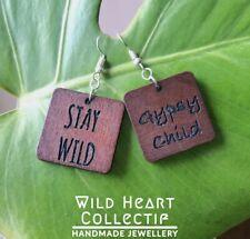 Boho Wood Earrings / Gypsy Child / Namaste Beaches / Salute Sun / Personalised