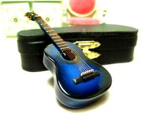 1:12 Mini Acoustic Guitar Miniature Musical Instrument Dollhouse Toy Case Blue