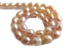 Peach Centre Drilled Fresh Water Potato Pearl Beads 14 Inches 8mm To 10mm FP45