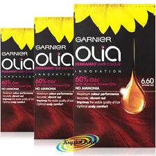 3x Garnier Olia 6.60 Intense Red Permanent Hair Colour Dye No Ammonia