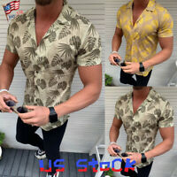 Fashion Mens T-Shirts Printed Short Sleeve Slim Fit Casual V-Neck Tops Shirt US