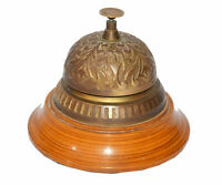 Antique finish designed brass table & desk bell reception call ring bells gift