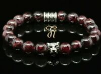 Granat 8mm Armband Perlenarmband silberfarbener Leopardenkopf